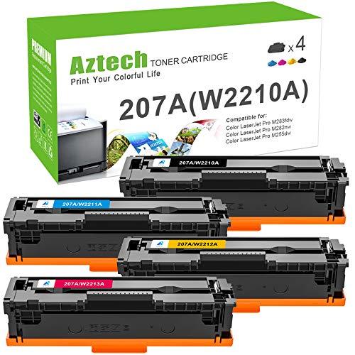 Aztech Kompatibel Tonerkartusche als Ersatz für HP 207A 207X W2210A W2210X W2211A W2212A W2213A HP Color Laserjet Pro MFP M283fdw M282nw M283fdn M255dw M255nw (Schwarz,Cyan,Gelb,Magenta, 4er-Pack)