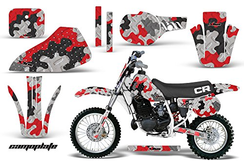AMR Racing MX Dirt Bike Graphics kit Sticker Decal and Number Plates Compatible with Honda CR80 1996-2002 - Camoplate Red