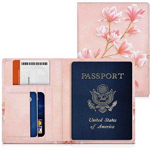 kwmobile Reisepass Hülle mit Kartenfächern - Kunstleder Ausweishülle Passhülle Kartenetui Tasche - Reisepasshülle in Rosa Weiß Altrosa