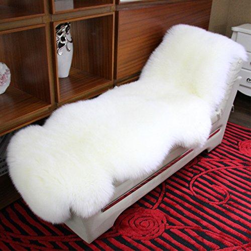 DX Schaffell-Teppich Lammfell Teppich, LÄUFER (aus 2 Fellen) Doppel Schaffell Decke 100% Naturfell, Doppelt Schaffell DYSO-0001