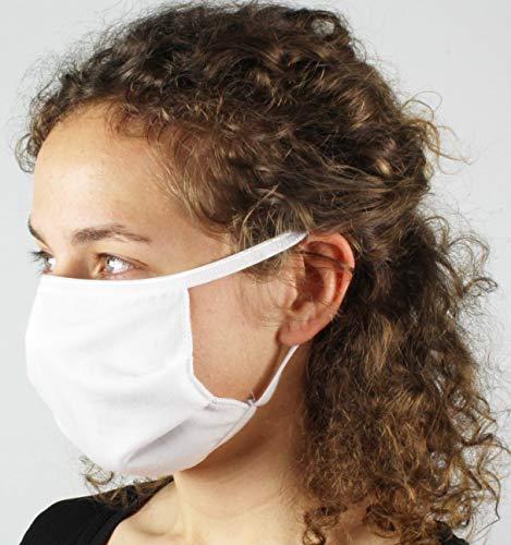 con-ta Mund- und Nasenmaske (2er Pack), wiederverwendbarer Hygieneartikel, mit elastischen Fixierbändern, hergestellt in Deutschland, in Farbe weiß, OneSize