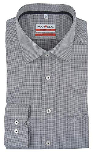 Marvelis Herrenhemd, modern fit, New Kent, grau strukturiert (42)
