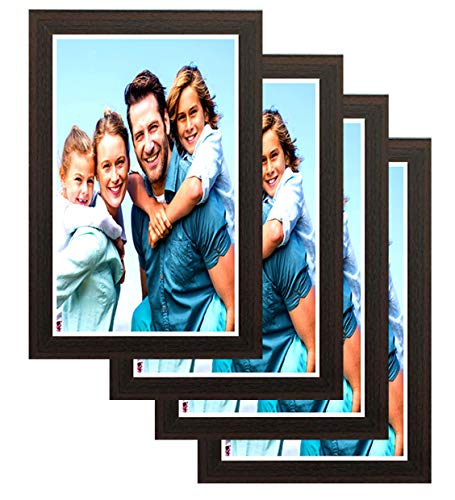 Interio Crafts Photo Frames for Walls Decoration-Brown, 4 Pack, Glass Protection