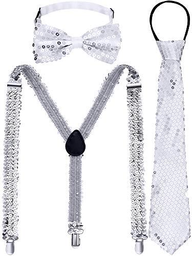 Geyoga Herren Pailletten Hosenträger Set, Verstellbarer Y Pailletten Hosenträger Clip, Schuppige Pailletten Krawatte mit Fliege für Kostüm Party Zubehör (Silber)