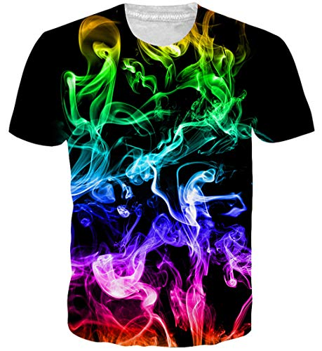 Goodstoworld Luminoso colorato 3D Stampa T Shirt Unisex Estate Personalizzato Girocollo Tshirt Tee Top per Mens Womens XL