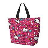 Bolso de mano de Hello Kitty con asa de hombro, estilo simplicidad, gran capacidad, bolsa de compras, gimnasio, playa, viajes, unisex, plegable
