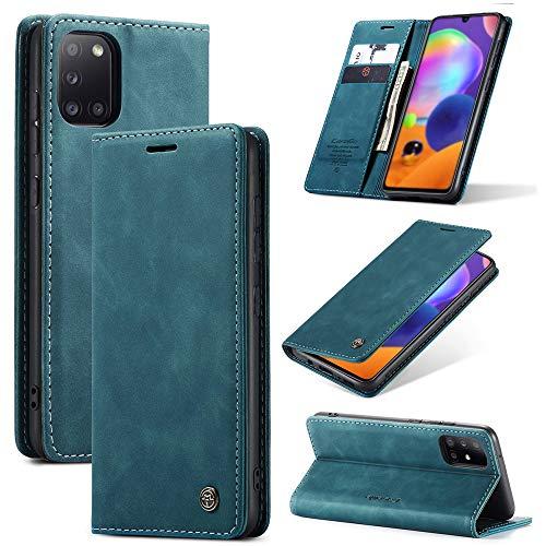 KONEE Hülle Kompatibel mit Samsung Galaxy A31, Lederhülle PU Leder Flip Tasche Klappbar Handyhülle mit [Kartenfächer] [Ständer Funktion], Cover Schutzhülle für Samsung Galaxy A31 - Blaugrün