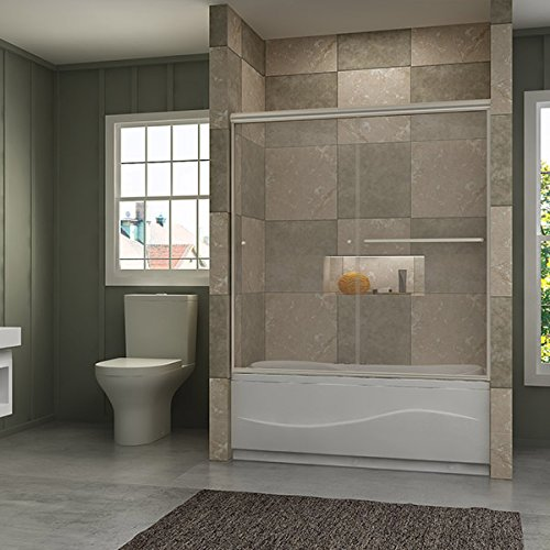 SUNNY SHOWER Bathtub Shower Door 60' W x 62' H Semi-Frameless Double Sliding Design Glass Shower Tub Door, Brushed Nickel Finish