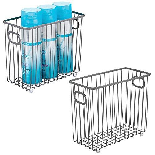 mDesign Set da 2 Contenitori con maniglie integrate – Organizer da bagno in filo metallico – Pratico cesto per cosmetici, accessori bagno e asciugamani – grigio scuro