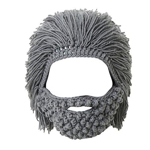 Lantra Besa Mujer Hombre Peluca Sombrero de Barba Sombrero de Punto Divertido con Cabello para Esquiar Carnaval Fiesta de Cosplay de Halloween CC0006 - Barba Gris