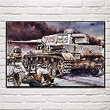 VVSUN Vintage alemán Tanque Militar Campo de Batalla Soldado Batalla Lienzo Pintura Arte Cartel Pared Arte Imagen Sala de Estar decoración del hogar 50X75cm 20x30 Pulgadas sin Marco