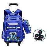 HXA 17 Pulgadas Coche de Carreras Impresión Mochila Trolley Niños primarios Impermeable Mochila con Ruedas con Estuche para niños (Azul),Six Rounds with Flash