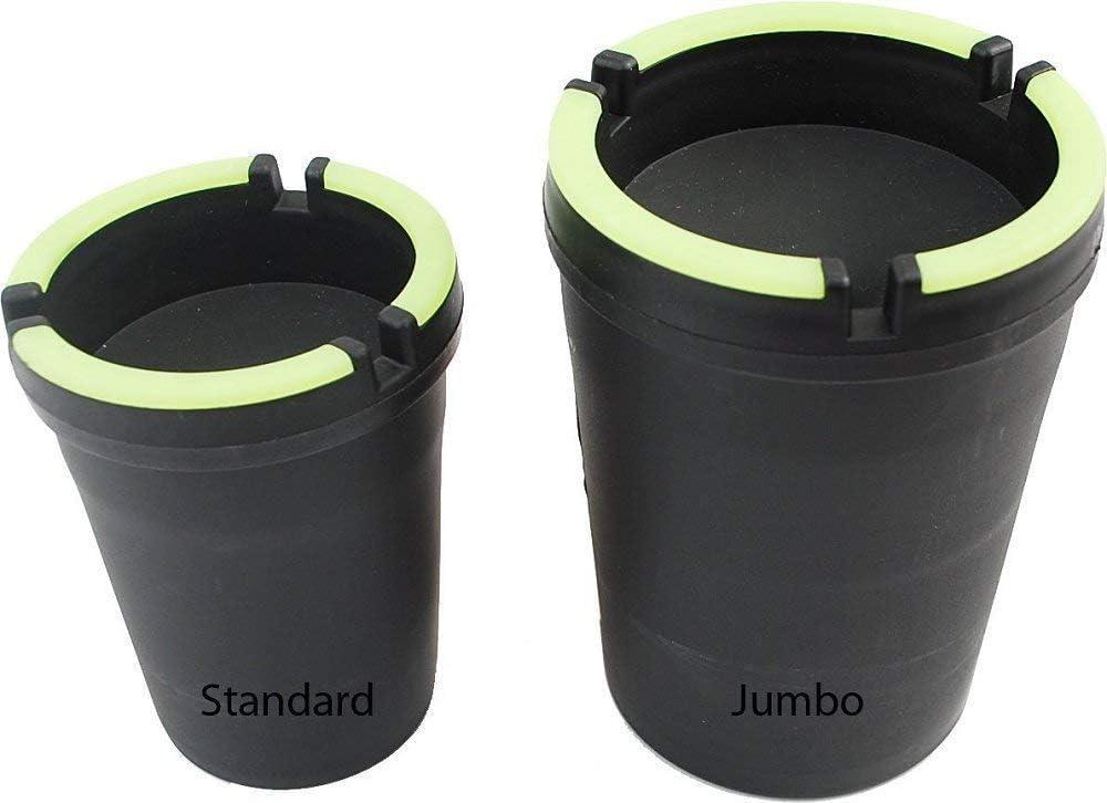 2 PACK JUMBO ASHTRAY - STUB OUT CUP - SELF EXTINGUISHING CIGARETTE ASHTRAY - BUTT BUCKET - PORTABLE ASHTRAY - BLACK