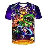 Juego clásico Super Mario Bros 3D impreso camiseta Funny Summer Camiseta Boys Girls Kids Ideal Gift Cartoon Short Sleeve Cotton Tee Tops G XL