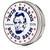 Twin Beards Sandalwood Beard Balm | Conditions & Strengthens for a Softer & Thicker Beard | Cocoa Butter, Bees Wax & Jojoba Oil | 3.5 oz