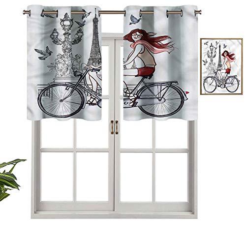 Hiiiman Cortinas térmicas aisladas con cenefa de cortina para mujer en bicicleta Eiffel, juego de 1, 132 x 45 cm para decoración de salón comedor