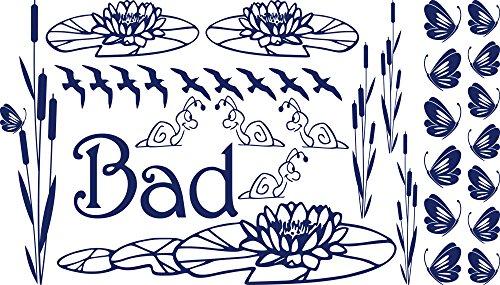 GRAZDesign Wandtattoo Bad Badezimmer WC Schnecke, Badezimmeraufkleber Schilf Seerose Schmetterlinge, Bad Fliesen Aufkleber Moor Set / 100x57cm 049 königsblau