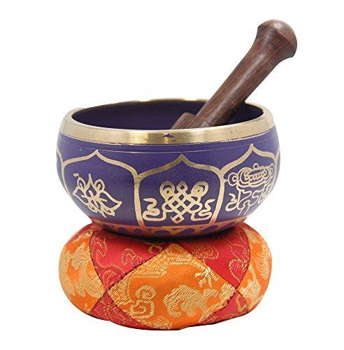DharmaObjects - Set de cuenco, mazo y cojín tibetano para meditación -...