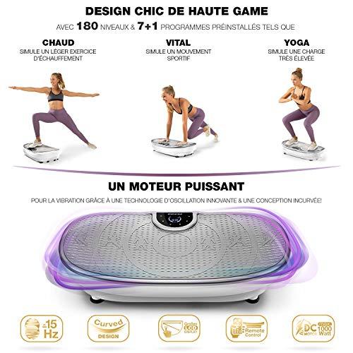 Plateforme Vibrante VP250 avec un design élégant | combustion des graisses et développement musculaire | moteur silencieux | 7+1 programmes d'entraînement, y compris option yoga | avec Bluetooth