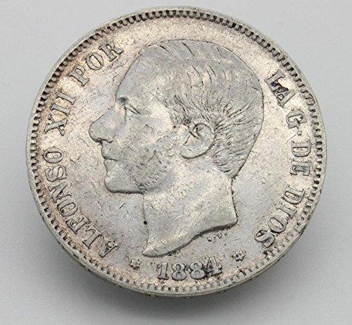 Desconocido Moneda de 5 Pesetas de Plata del Año 1883 Durante La Epoca de Alfonso XIII. Moneda Coleccionable. Moneda Antigua.