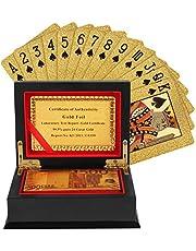 Kurtzy spelkort - guldfoliepokerkort, vattentätt kortlek med 500 euro design i en presentförpackning av trä lämplig för fester och spel