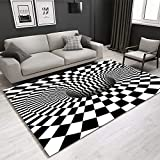 wan Rectangle Area Rug 3D Trap Effect Carpet Optical Illusion Floor Mat Black White Doormat for Indoor Home Living Room Dorm 3D Rugs Anti-Skid Area Rugs-A 80x160cm(31x63inch)