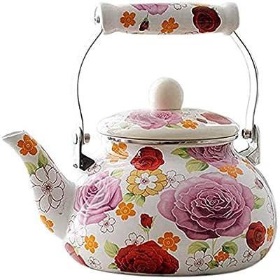 Enamel Teapot floral,Large Porcelain Enameled Teakettle,Colorful Hot Water Tea Kettle pot for Stovetop,Small Retro Classic Design (2.4L, floral)