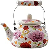 OLYTARU Enamel Teapot floral,Large Porcelain Enameled Teakettle,Colorful Hot Water Tea Kettle pot for Stovetop,Small Retro Classic Design (2.4L, floral)