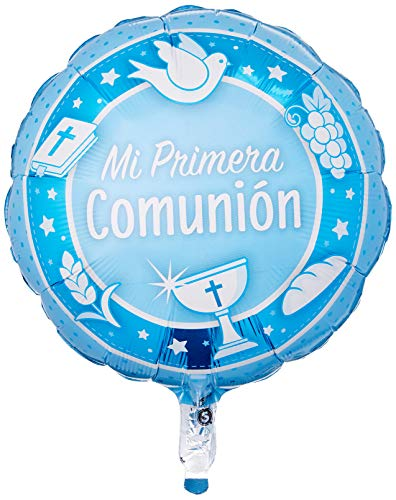Qualatex 49568 Comunion Azul - Globo redondo de aluminio (45,72 cm), multicolor