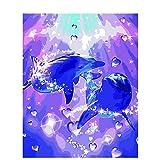 Joilkmgg Pintar por Numeros Delfín Animal Pintar por Numeros Kits Adultos Niños Pintura por Numeros con Pinceles Lienzo y Pinturas Acrilicas 40X50cm Sin Marco
