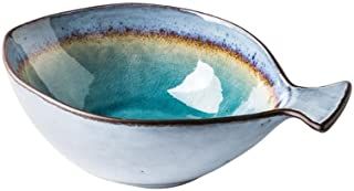 Bowl Bowls Dishware Japanese-style Ceramic Bowl, Household Fish-shaped Ice Crack Glaze Cutlery Set Commercial Personality Ceramic Noodle Dessert Salad Bowl [4 Sizes] for kitchen restaurant gifts House