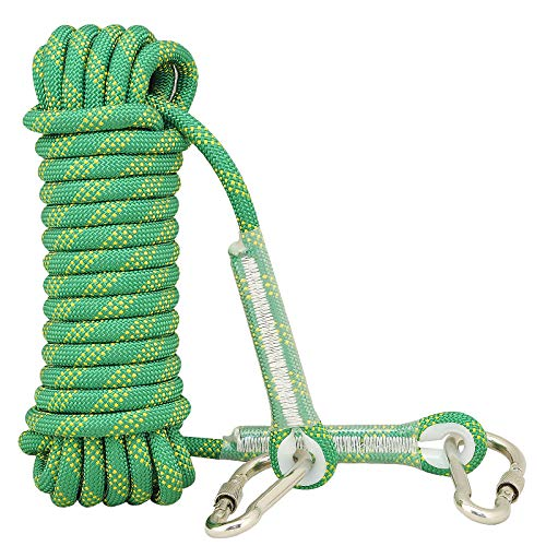 Syiswei Rock Climbing Rope 12MM Upgraded Coating Carabiners Clips10m32ft20m65ft 30m98ft Static Outdoor Climbing Rope Safety Rope Tree Swing Climbing Equipment Parachute Rope Aqua 10