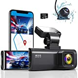 REDTIGER 4K Dual Dash Cam Built-in WiFi GPS Front 4K/2.5K and Rear 1080P Best Dual Dash Camera for Cars,3.16' Display,170° Wide Angle Dashboard Camera Recorder with Sony Sensor,32GB TF Card Included,