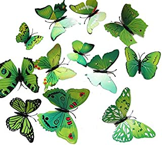 Set 12pcs 3d Green Butterfly Wall Stickers Decoration
