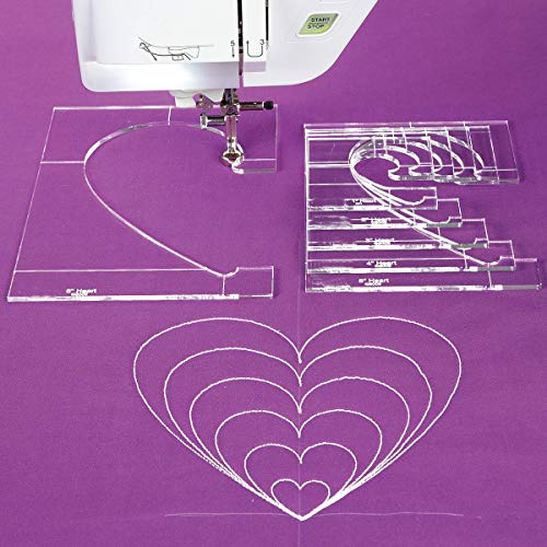 YICBOR Heart Template Expansion Ruler for Low Shank Domestic Sewing Machine 1 Set = 6pcs # QH-6
