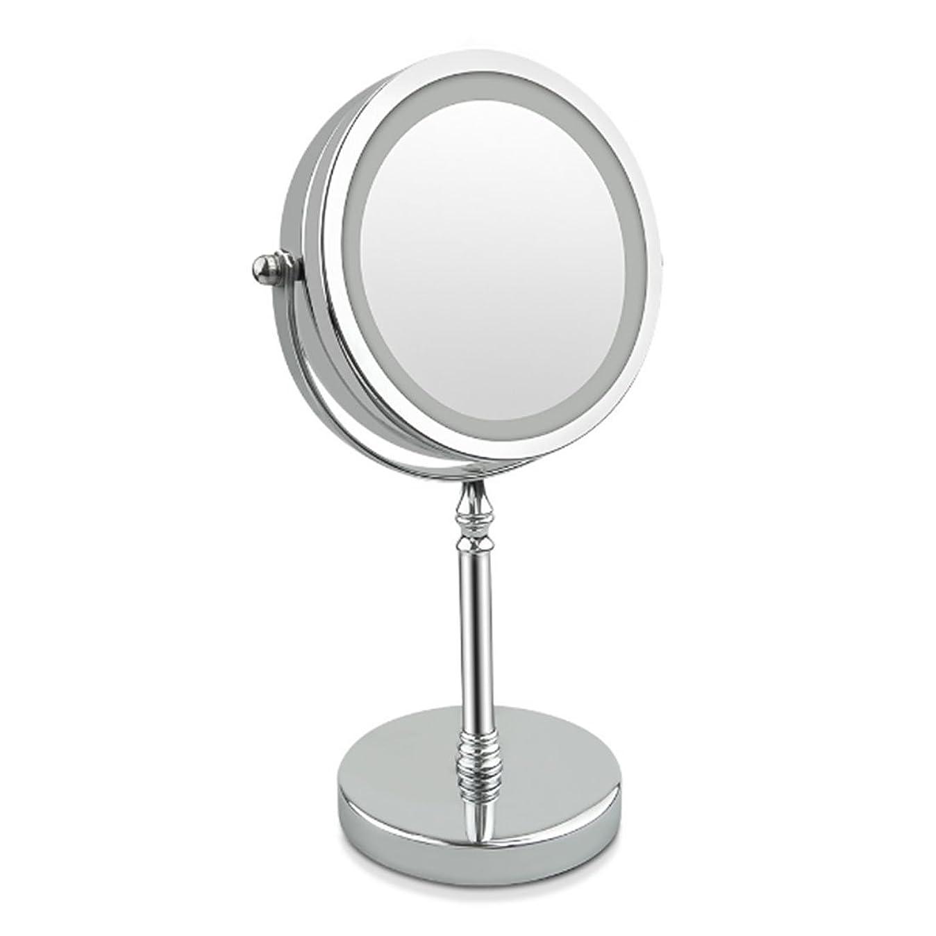 返済序文ブレンドAmaiai LED化粧鏡 10倍拡大鏡 両面照明付き 7インチ シルバーデイライト (色 : Silver)
