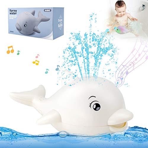 HUSAN Giocattoli da Bagnetto per Bambini,Giochi per il Giocattolo delfino della piscina vasca da bagno degli con musica luce sprinkler a induzione automatica acqua spray per Ragazzi e Ragazze (Bianco)