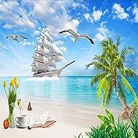 カスタム写真3Dビーチ壁画壁紙帆船ココナッツの木海景リビングルーム寝室レストラン壁画-150x120cm
