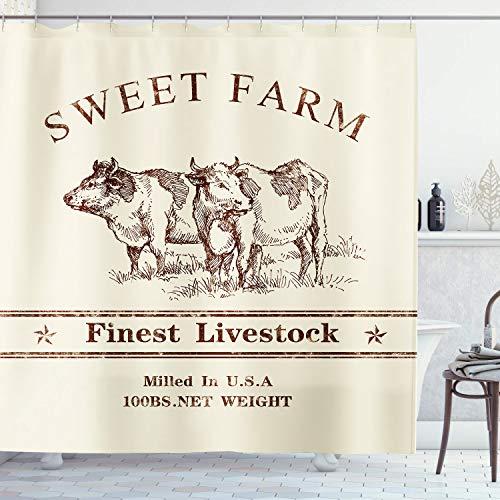 Ambsunny Farm Kuh Duschvorhang Tier abstrakt Retro Rinderfutter rustikal Bauernhaus Vintage Western Artwork Stoff Badezimmer Dekor Set mit 12 Haken 152,4 x 180,9 cm, Beige