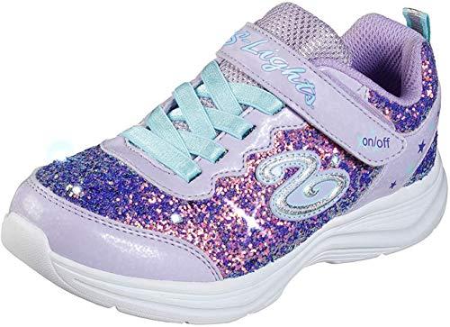 Skechers Kids Girl's Glimmer Kicks Sneaker, Lavender/Aqua, 11 Medium US Little Kid