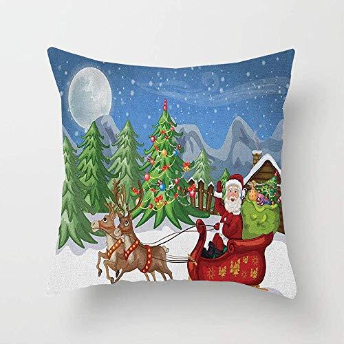 N\A Paesaggio Di Campagna Di Notte Con Alberi Babbo Natale Snowdrift Renne Montagne Fodera Per Cuscino Per Divano, Letto In Cotone O Divano Federa