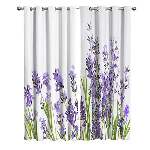 Edwiinsa Purple Kitchen Blackout Curtains Window Drapes Treatment, 2 Panels Set for Kitchen Cafe Office, Lavender Aromatic Evergreen Shrub of The Mint Family Nature, 55W x 39L inch