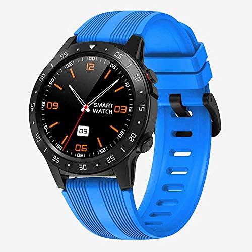Reloj inteligente con pantalla táctil con monitor de ritmo cardíaco, monitor de actividad física, 5 ATM, reloj deportivo impermeable con podómetro, monitor de sueño, cronómetro, color azul