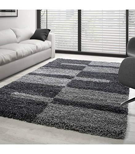 Teppich Hochflor Shaggy Langflor Wohnzimmer Karo Muster Florhöhe 3 cm - Grau-Hellgrau, 140x200 cm