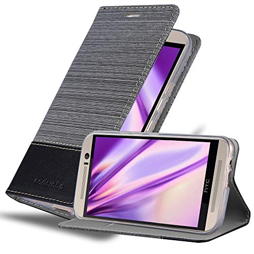 Cadorabo Hülle für HTC ONE M9 (3. Gen.) - Hülle in GRAU SCHWARZ – Handyhülle mit Standfunktion & Kartenfach im Stoff Design - Hülle Cover Schutzhülle Etui Tasche Book