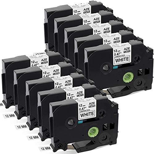 Aken kompatibel Schriftband als Ersatz für Brother P-touch TZe-231 TZe231 TZ-231 12mm schwarz weiß - für P-touch 1000 1005 1010 1280 H105 D400 D600 E100 Cube Beschriftungsgerät, 10er Packung