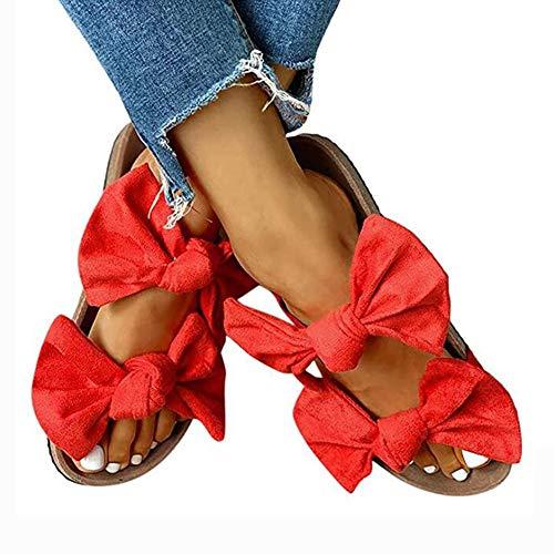 Vrouwen platte sandalen met dubbele riem Dubbele strikken Slipper Open teenglijbanen Kurk Binnenzool Strandglijbanen Platte schoenen
