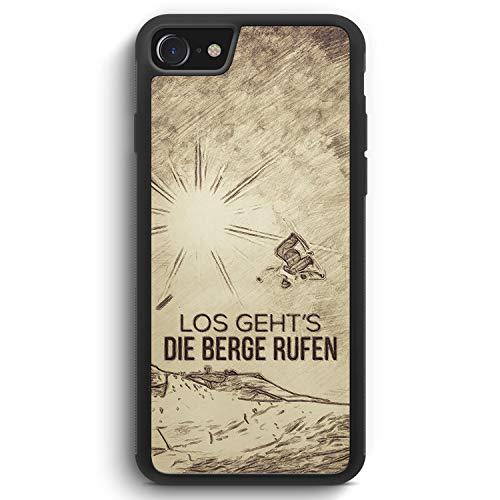 Vintage Los Geht's Die Berge Rufen Snowboard - Silikon Hülle für iPhone SE 2020 - Motiv Design Spruch Cool Sport Schön - Cover Handyhülle Schutzhülle Case Schale