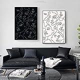 Lienzo de línea Resumena, arte de pared en blanco y negro, pintura con impresión minimalista, póster nórdico, imagen corporal de mujer, decoración moderna para sala de estar, 50x72cmx2 sin marco