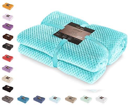 DecoKing Suave y cálida Manta escandinava de Microfibra, Color Turquesa, 150x 70cm